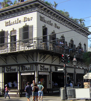 On the corner of Duval Street and Caroline Street, the Bull & Whistle is a party institution.