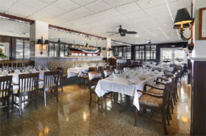 The inside dining room of the A&B Lobster House.