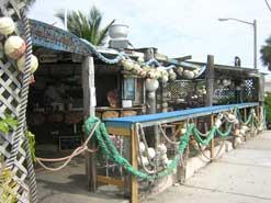 Outdoor seating at the casual B.O.'s Fish Wagon