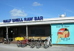 Bicycles parked out from of the popular Half Shell Raw Bar