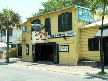 The bright yellow building with the big grouper is Captain Tony's – the original Sloppy Joe's.