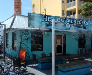 Exterior of dockside restaurant Mellow Cafe and Gastropub
