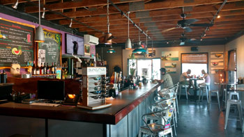 Inside the restaurant and bar. Pictured is the casual interior of the eatery.