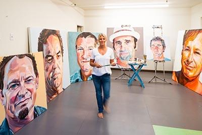 Letty Nowak, artist in studio