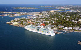 View of Key West harbor from helicopter tour
