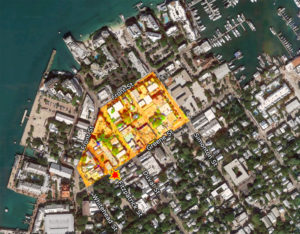 Aerial photo of Key West with areas affected by 1859 Fire highlighted