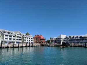 Key West harbor, with Custom House and Margaritaville Resort in view