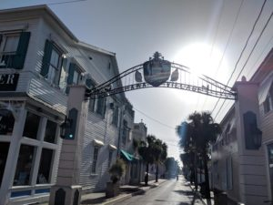The gates to Bahama Village and looking down Petronia Street