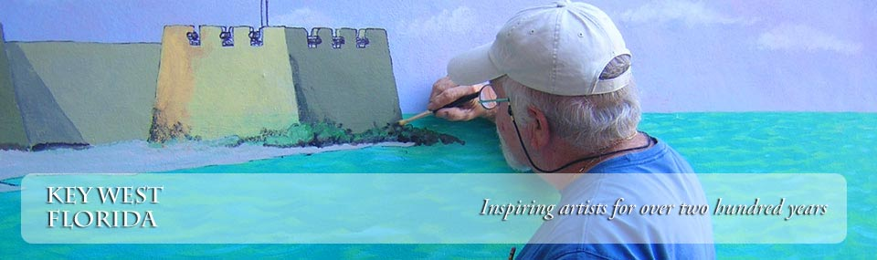Artist at work painting a large mural of historic maritime scenery