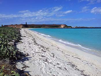Soft sand beach, blue-green ocean, and Fort Jefferson in the distance