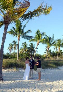 Wedding being performed on beach in Key West