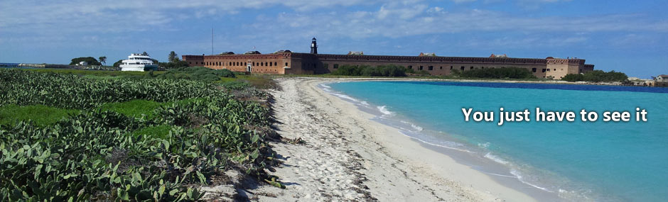 Fort Jefferson at the end of a long sandy beach