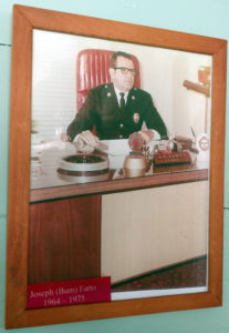 Photo of infamous Fire Chief Bum Farto at this desk at the Key West Fire Station