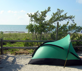 Tent set up at one of the beachside sites at Bahia Honda