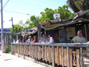 View of outdoor dining at the casual B.O.'s Fish Wagon on Caroline Street in Key West