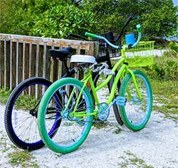 Colorful bikes parked at the beach