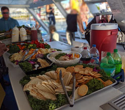 View of the excellent tasting snacks provided on the sunset cruise