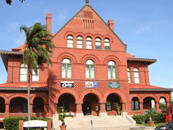 The historic red brick building in Key West, known as the Customs House