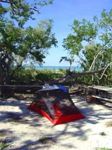 Tent campsite at the Dry Tortugas National Park with ocean nearby