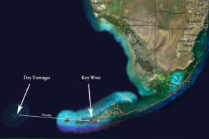 Satellite map showing Dry Tortugas in relation to Key West & the Florida Keys