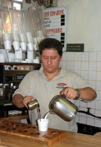 Eddie making cafe con leche at the popular coffee shop 5 Brothers