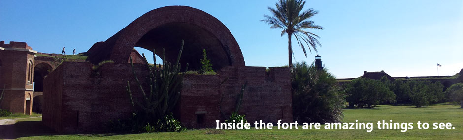 Interior of the fort, showing historic structures