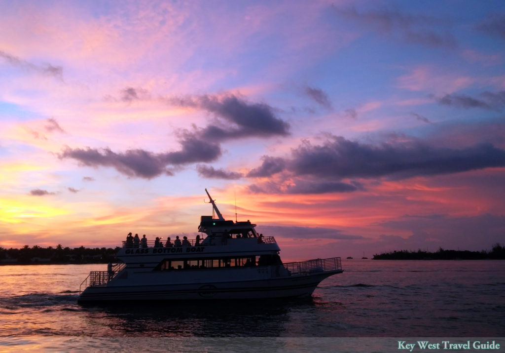 Glassbottom boat returning to port in Key West