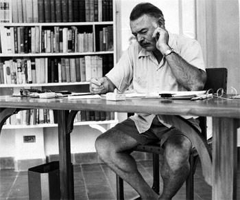 Ernest Hemingway at work while living in Key West