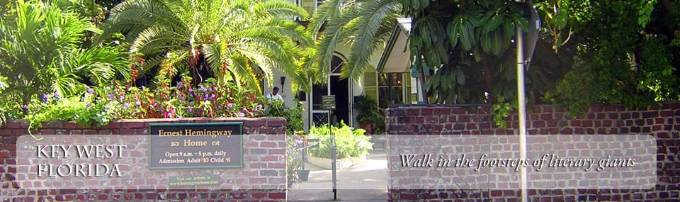 View of the entrance to the Hemingway House, home to one of Key West's famous resident writers