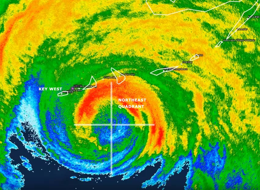 Radar image showing Hurricane Irma's approach to Key West and the Florida Keys