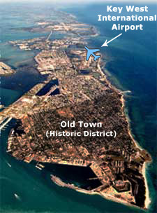 Aerial view of the island of Key West with airport labeled