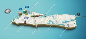 3-D Map of Key West Showing Major Landmarks