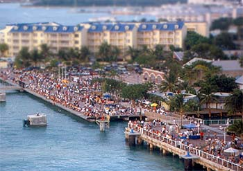 View of Mallory Square in Key West as crowds gather for sunset