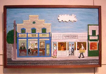 Painted wood carving by Mario Sanchez, known for capturing earlier Key West life.