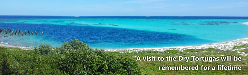 Gorgeous turquise and blue ocean surround the Dry Tortugas islands