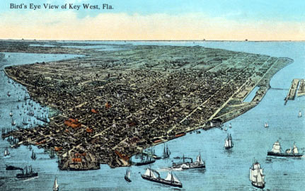 Vintage postcard with a bird's eye view of Key West, Fla
