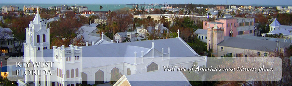 Overhead view of Old Town Key West and its many historic structures