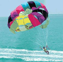 Parasailing in Key West over the blue ocean