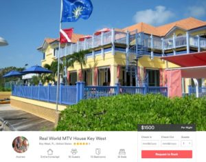 Rental listing for the house used in Real World Key West season