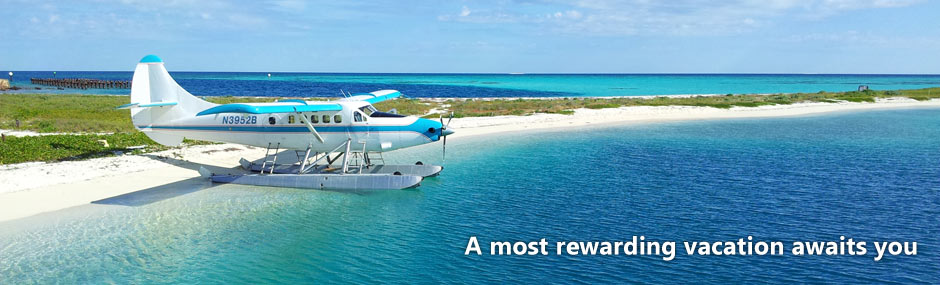 Seaplane parked on the sandy beach of the Dry Tortugas