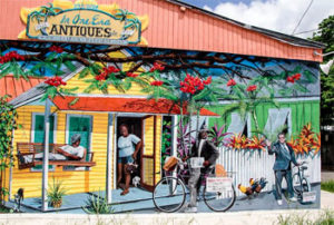 Rick Worth's newest, largest, and most impressive mural is just around the corner from Blue Heaven and illustrates life in the Bahama Village neighborhood.