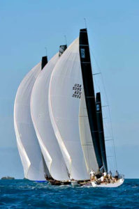 Spinnakers flying during sailboat race in Key West