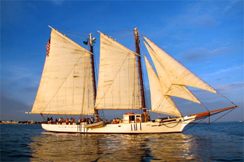 The historic schooner Western Union, with all sails up
