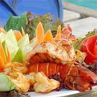 Seafood favorites that Key West is known for, including fresh lobster