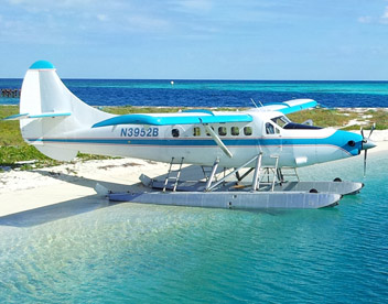 Seaplane parked on the beach at the Dry Tortugas