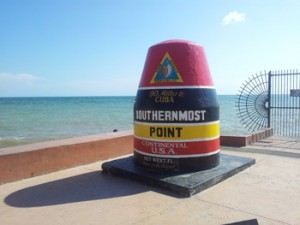 Large cement buoy marker of the Southernmost Point in the continental United States