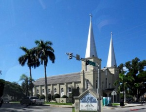 Twin-spire cathedral on Truman Ave in Key West, one of the oldest in Florida