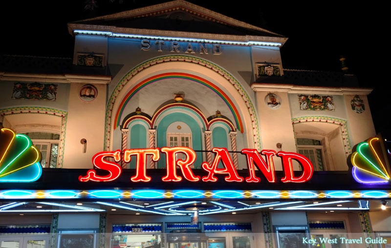The ornate facade of the Strand Theater on Duval Street