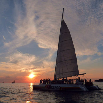 Catamaran booze cruise just before the sun sets in Key West