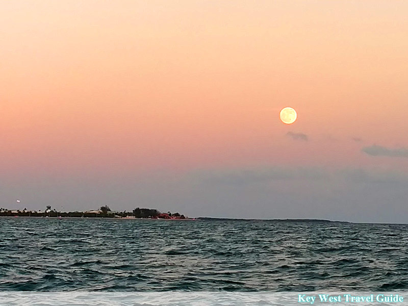 Super moon rising over eastern end of Key West